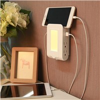 LIGHTMATES US Creative multi-functional USB Charging  Socket  Sensor Lamp Phone Shelves Dual USB Charging