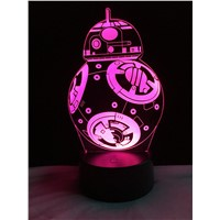Star Wars BB-8 Ball Robot 3D Led Night Light Colorful Gradient Illusion Lamp Christmas Kids Gift Birthday Holiday Mood lighting