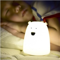 USB rechargeable LED Colorful Night Light Animal Bear stype Silicone Soft  Breathing Cartoon Baby Nursery Lamp for Children Gift