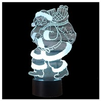 3D Illusion Night Lights 7 Colors Switch Automatically by Smart Touch Button Indoor Lamp, Santa Claus Black+Transparent