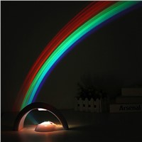 Baby Kids Children LED Rainbow Light Colorful Romantic Rainbow Projector Night Light Lamp for Sleeping Bedroom With USB Cable