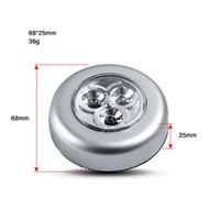 Batteries Powered  Wall Light LED Touch Lamp 3LED Round  Mini Cordless Kids Touch Lamp
