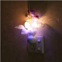 Novelty EU & US Plug Night Light  Mushroom Fungus Night Light Sensor 220V 3 LED Colorful Mushroom Lamp Led Night Lights
