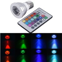 E27 E14 GU10 LED RGB Bulb lamp5W AC110V 220V LED RGB Spot light dimmable magic Holiday RGB lighting+IR Remote Control