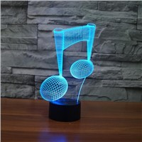 Creative Note Night Lighting 3D Note Design LED Table Lamp with USB Cable