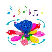 Happy Birthday Gift Candle Lights Musical Lotus Rotary Flower Children Kids Party Light 5 Color New Arrival