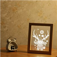 Novelty Lighting Wooden Frame 3D Deer Shaped Night Light USB Power Festival Holiday Party Lamp Christmas Gift Home Decor