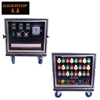 Gigertop Power Supply Direct Box Road Case Packing LED Display 24 Road 32A Power Output With Cooling Fan/Working Mode Led Light