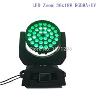 4 pcs LED Moving Head Wash Light LED Zoom Wash 36x18W RGBWA+UV Color DMX Stage Moving Heads Wash Touch Screen