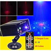 3 Lens RGB Laser Remote-Controlled Stage Lighting Red Green Laser Light with Blue LED Sound Active for DJ Disco Home Show