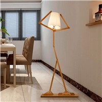 Nordic Creative Wooden Floor Lamps E27 Log Fabric Stand Light Living Room Bedside Piano Reading Lamp Modern Decorative Lighting
