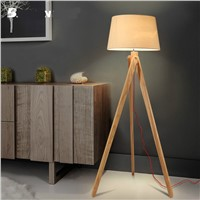 100% Quality Modern Europe Original Wood Linen Fabric Led E27 Floor Lamp with Foot Switch For Living Room Bedroom H 150cm 1714