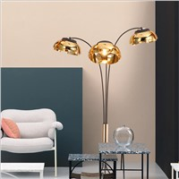 Creative simple floor lamp post modern 3 arm standing lamp black gold living room bedroom new design art home decoration light
