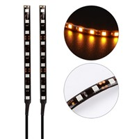LAGUTE 2Pcs 9SMD Universal Flexible LED Turn Signal Indicator, Tail Brake License Plate Light Strip for Motorcycle Bike ATV Car