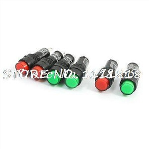 6Pcs 2 Pin Red Green Neon Bulb Signal Lamps Indicator Lights AC 220V