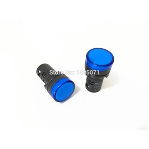 20pcs AC 220V 22mm Mount Blue LED Power Indicator Signal Light Pilot Lamp AD16-22D/S