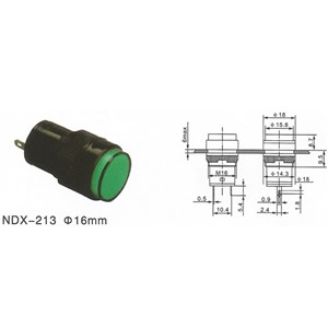 ABBEYCON 16mm Dia green button green Led Indicator switch/pilot light 16mm Led indicator light