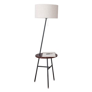 Simple Modern Nordic Creative Solid Wood Iron Fabric Led E27 Floor Lamp With Tray Tea Table For Bedroom Living Room H 158cm 1064