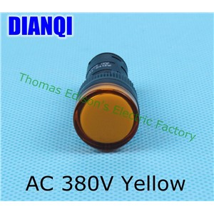 AC 380V 16mm LED Indicator Signal Light indicator lamp AD16-16C Yellow