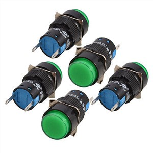 5 Pcs Green Round Cap 2 Pins Fault Signal Lamp Indicator Light DC 24V LA128AY-D