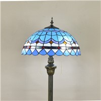 European modern minimalist Mediterranean Blue Tiffany Stained glass dining room bedroom study floor lamp 110-240v dia40CM