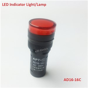 16mm Indicator light  Pure Red Led Indicator lamp 220v 12v 24V 220v 380v Elecrtric Light Signal Lamp Control Light AD16-16C