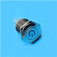 IN18 stainless steel Diameter 16mm LED Blue color Waterproof round push button power logo indicator