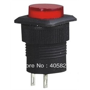 Momentary pushbutton switch R16-504B without lights 2pins red/green Mounting holes 16 mm