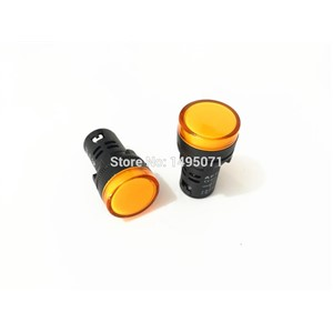 5pcs AC 220V 22mm Mount Size Yellow LED Power Indicator Signal Light Pilot Lamp AD16-22D/S