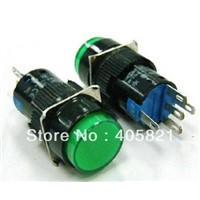 Green 1NO 1NC 16mm Hole Momentary Push Button Switch With Light Lamp 5pins