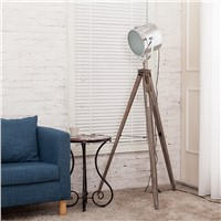 European Nordic American Vintage Wood Lampstand Searchlight Additional Net Floor Lamp