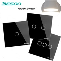 SESOO EU/UK Standard Touch Switch,Crystal Glass Panel Black Fireproof Wall Light Switch 1Gang/2 Gang/3 Gang 1 Way for Smart Home