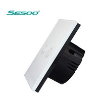 Sesoo Smart Switch 2 Gang, Wireless Remote Control Light Switches, Crystal Glass Panel Touch Wall Switch With Controller EU