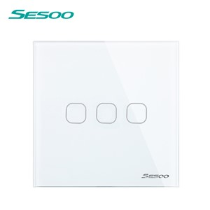 EU/UK Standard SESOO Touch Switch 1 Gang/2 Gang/3 Gang 1 Way,Single Fireline Wall Light Switch,White Crystal Tempered Glass
