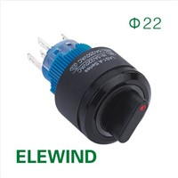 ELEWIND 22mm Round Ring illuminated selector switch (PB223PY-11X/21/R/12V/IP65)