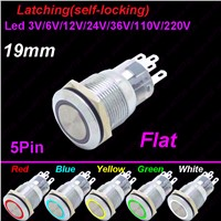 1PC 19MM Car Dash Power Metal Push Button With LED 12V/24V Latching Self-locking Metal Switch Ring Indication illuminated