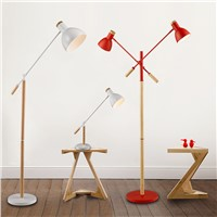 The American minimalist living room lamp, iron wood floor lamp