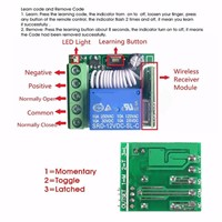 DC12V 10A Receiver Wireless Relay 1 Channel RF Remote Control Switch DIY Module