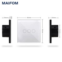 MAIFOM Touch Screen Light Switch Surface Waterproof Plastic Fireproof Wireless Remote Control RF433 Smart Home Touch Switch