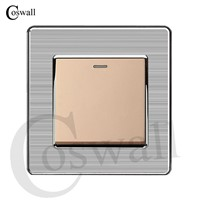 Coswall 1 Gang 1 Way Luxury Light Switch Push Button Wall Switch Interruptor Stainless Steel Panel AC 110~250V