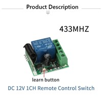 QIACHIP DC 12V 1CH 433MHz Universal Wireless Remote Control Switch RF Relay Receiver 433 MHz Transmitter Button Module Diy Kit