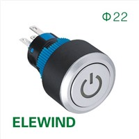 ELEWIND 22mm Round illuminated Power symbol Latching push button switch (PB223WY-11ZT/B/12V/IP65)