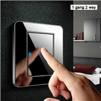 Manufacturer Coswall Brand 1 Gang 2 Way Random Click Push Button Wall Light Switch With LED Indicator Acrylic Crystal Panel