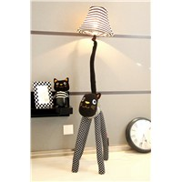 Christmas gift Hall floor lamp for living room Children room floor light canvas fabric Strip Cat feet  Adjustable Stand Lamp