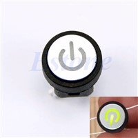 Momentary Latching Computer Case Switch Green Led Light Power Symbol Push Button