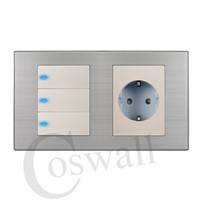 Coswall 16A EU Standard Wall Socket + 3 Gang 1 Way Push Button Light Switch With LED Indicator Stainless Steel Panel 160*86mm