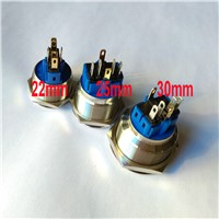 22mm 25mm 30mm 12V Blue Ring Led Light Momentary Push Button Switch DPST Metal Industrial Boat Car DIY Switch