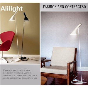 Modern Metal E27 LED Floor Lamp Black White Stand Light Home Lighting for Dining Living Room Bedroom Bedside Study Decor Fixture