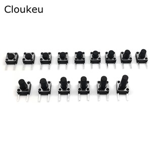 50Pcs Black 6x6 Tact Button Switch Side 2Pin 6*6* 4.3/4.5/5/5.5/6/6.5/7/7.5/8/8.5/9/9.5/10/10.5/11/11.5/12MM