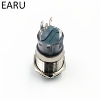 19mm 2 3 Position Switch Push Button Switch DPDT Illuminated Metal selector Rotary Switch with LED Waterproof Stainless Steel